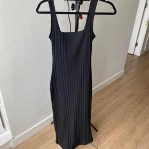 H&M Black Maxi Ribbed Dress with Slit in Back S